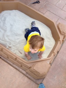 "Oh and B now has his ""oooown sandbox!"""