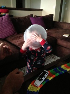 Told him if he needed to puke he should do so in the bowl. He took it a bit too literally.