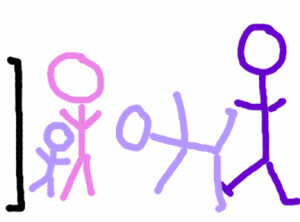 Artist's rendering. Not sure why the baby and I don't have feet.