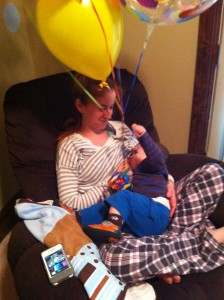 One of my favorites from a year or so ago. He refused to put down Daddy's birthday balloons all day, even to snack.
