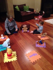 My future president (or at least mid-level micro-manager) leading Gaga and his bears in circle time.