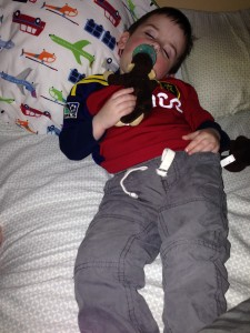 Amazingly, given the way he started life, he can now sleep through anything.