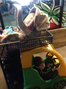 Don't worry fellow pearl-clutchers, F didn't actually ride up there precariously balanced. He got his own cart.