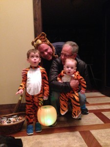Opa was here for Halloween! B was Daniel Tiger. Nobody tell F that he was Margaret Tiger.